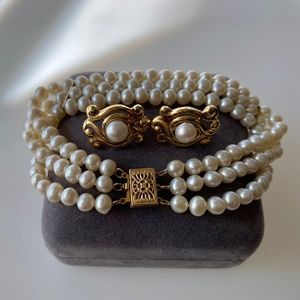 Art Deco 14k Pearl Bracelet and Earring Set